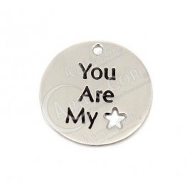 "Medalha 22mm Alumínio ""you are my star"""