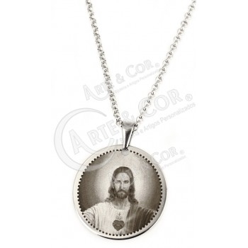 Colar Aço Inox Gravação Jesus Cristo
