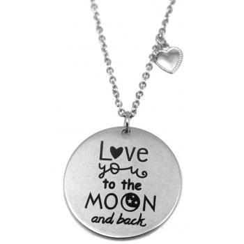 """Colar Aço Inox Gravação """"Love you to moon and back"""""""
