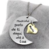 """Colar """"Lua"""" c/ Gravação Personalizada Mãe/Madrinha/Avó"""