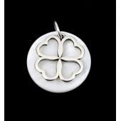 Medalha Madrepérola c/Trevo Prateado