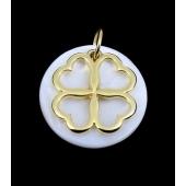Medalha Madrepérola c/ Trevo Dourado