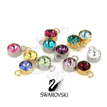 Pendente Aço Inox Pedrinha do Mês (cristal swarovski)