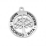 Medalha Aço Inox Árvore da Vida c/ Nomes Gravados