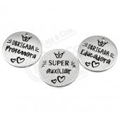 """3 Medalhas Aço Inox Grav. """"Super Educadora/Professora/Auxiliar"""""""
