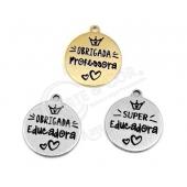 """3 Medalhas 15mm Grav. """"Super Educadora/Professora/Auxiliar"""""""