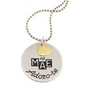 """Colar c/ Medalha Gravada """"Mãe Adoro-te"""""""