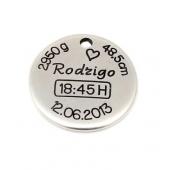 Medalha 25mm Zamak Personaliz. Nascimento