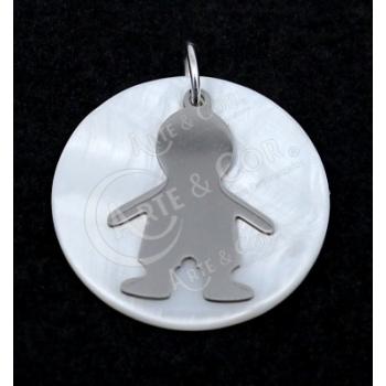 Medalha Madrepérola 30mm c/ Menino Aço Inox