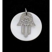 Medalha Madrepérola 25mm c/ Mão de Hamsá Aço Inox