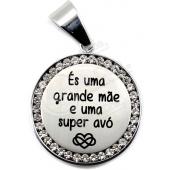 Medalhão Aço Inox c/ Cristais Gravação Personalizada