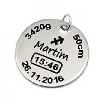 Medalha Aço Inox 25mm Gravação Dados de Nascimento