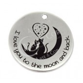 """Medalha 33mm Grav. """"I love you to the moon and back"""""""