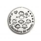 """Medalha Aço Inox Gravação """"A melhor Educadora do mundo"""""""
