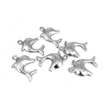Pendente Golfinho Aço Inox 15mm (pack 6 und)