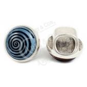 Conta Pedra Azul Espiral p/ Couro Extra-Grosso