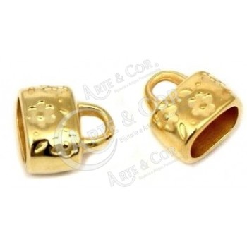 Terminal 6 Flores Int. 10x7mm - Banho Ouro