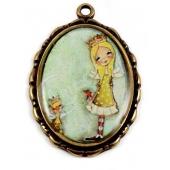 Medalha Menina Princesa - Ouro Antigo